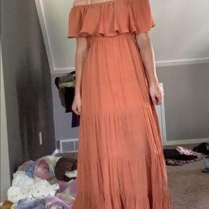 forever 21 orange off shoulder maxi dress